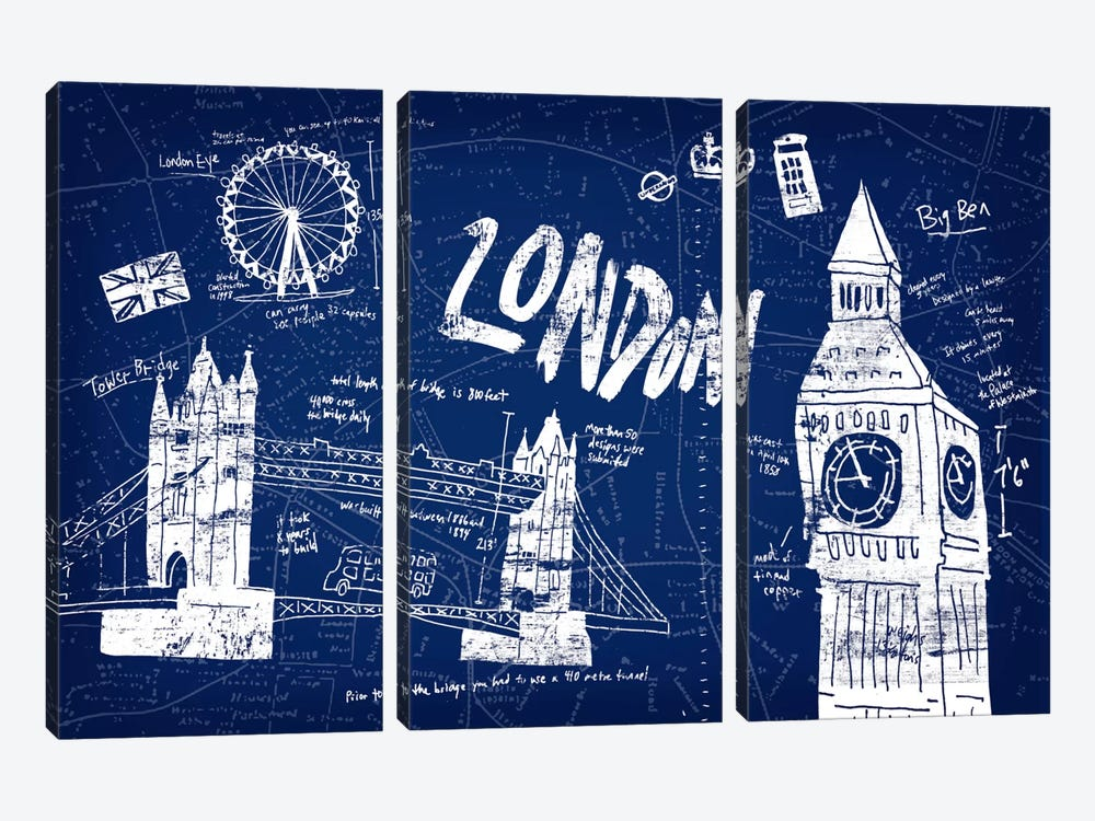 London Blue by Edward Selkirk 3-piece Canvas Artwork