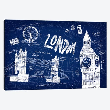 London Blue 3-Piece Canvas #ESK143} by Edward Selkirk Canvas Artwork