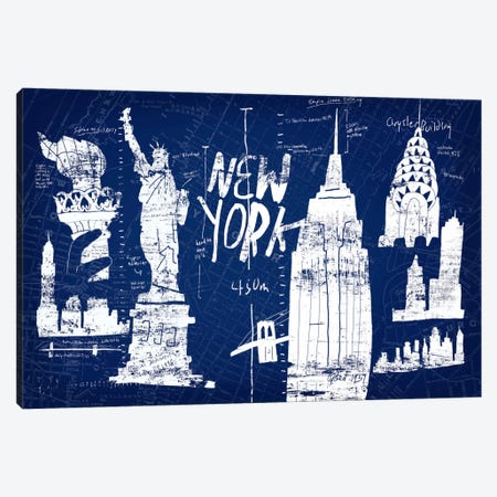 New York Blue Canvas Print #ESK188} by Edward Selkirk Canvas Wall Art