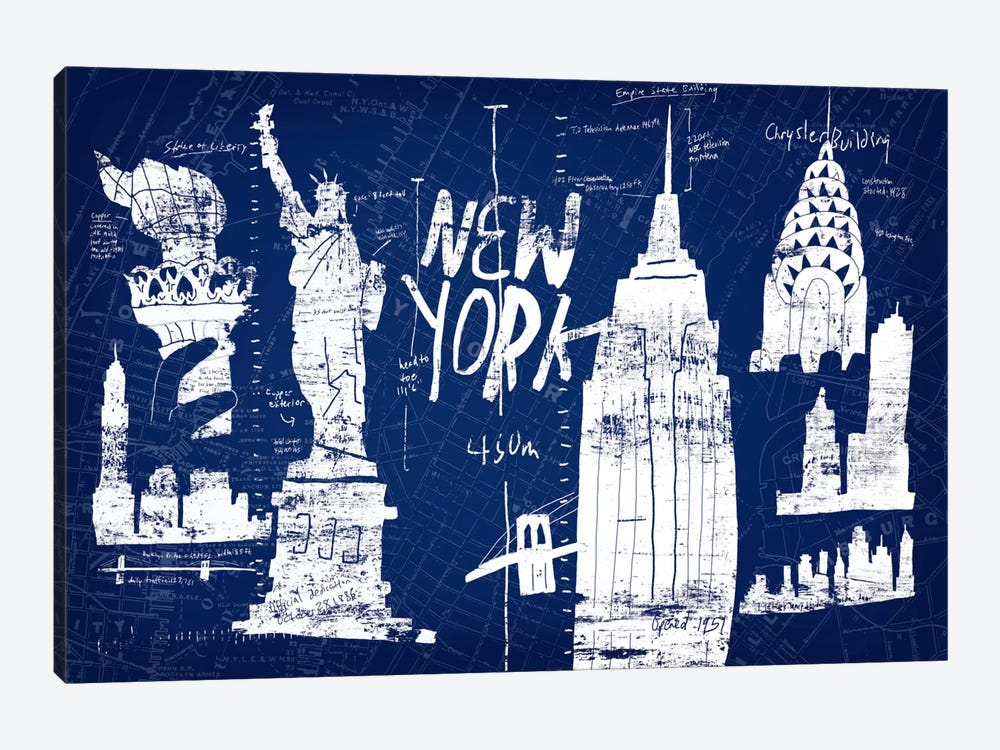 New York Blue by Edward Selkirk 1-piece Canvas Print