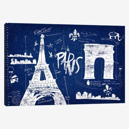 Paris Blue Canvas Print #ESK199} by Edward Selkirk Art Print