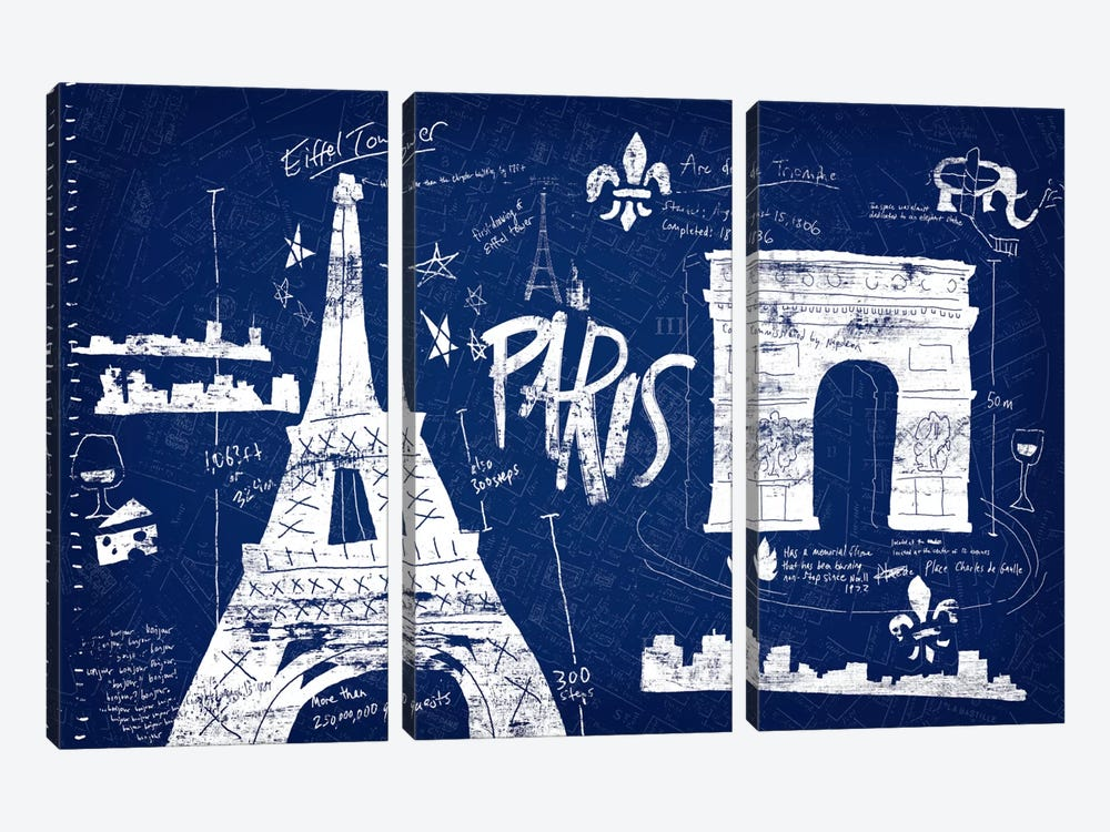 Paris Blue by Edward Selkirk 3-piece Art Print