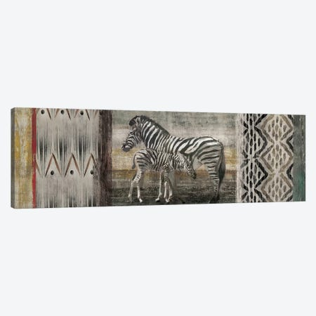 Tribal Zebras Canvas Print #ESK271} by Edward Selkirk Canvas Artwork