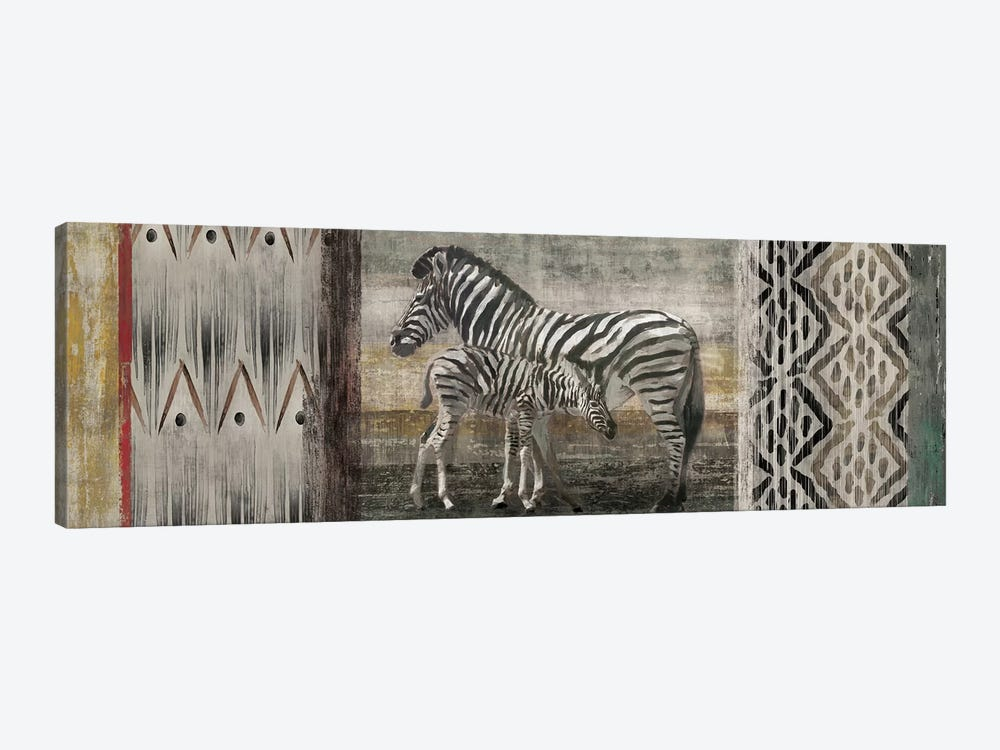 Tribal Zebras by Edward Selkirk 1-piece Canvas Print