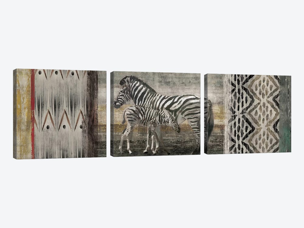 Tribal Zebras by Edward Selkirk 3-piece Canvas Print