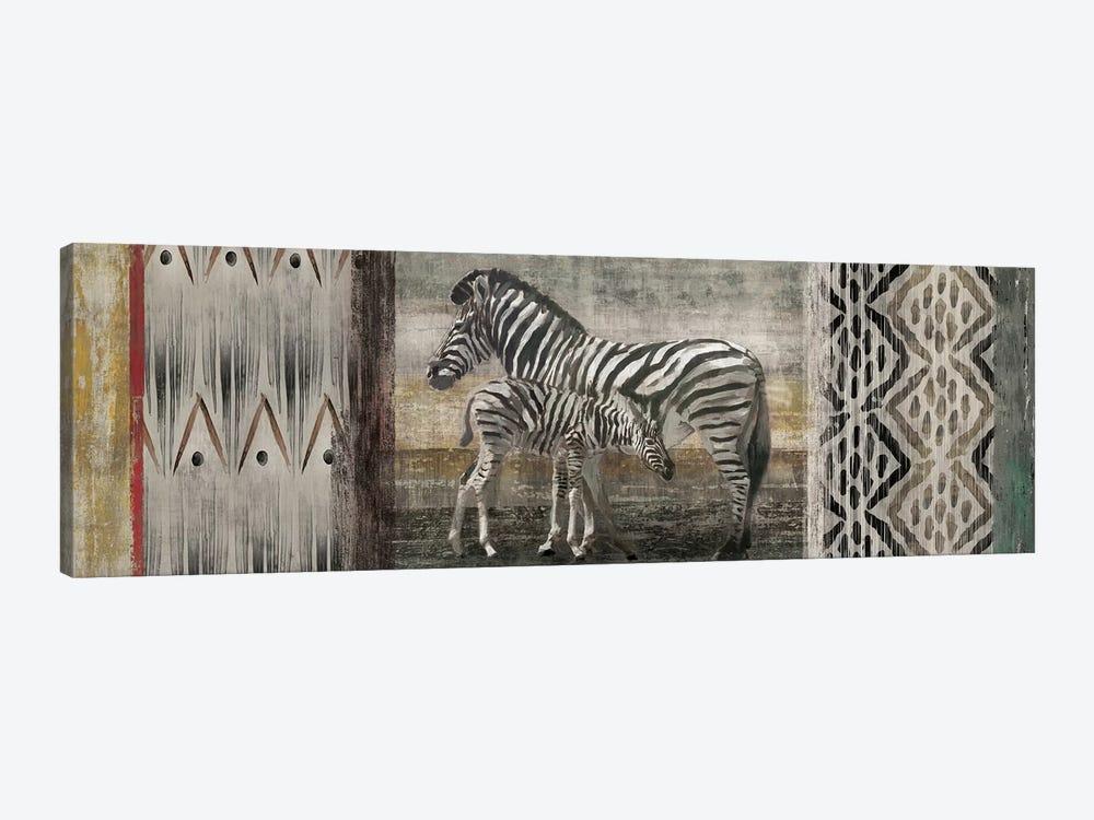 Tribal Zebras by Edward Selkirk 1-piece Canvas Print