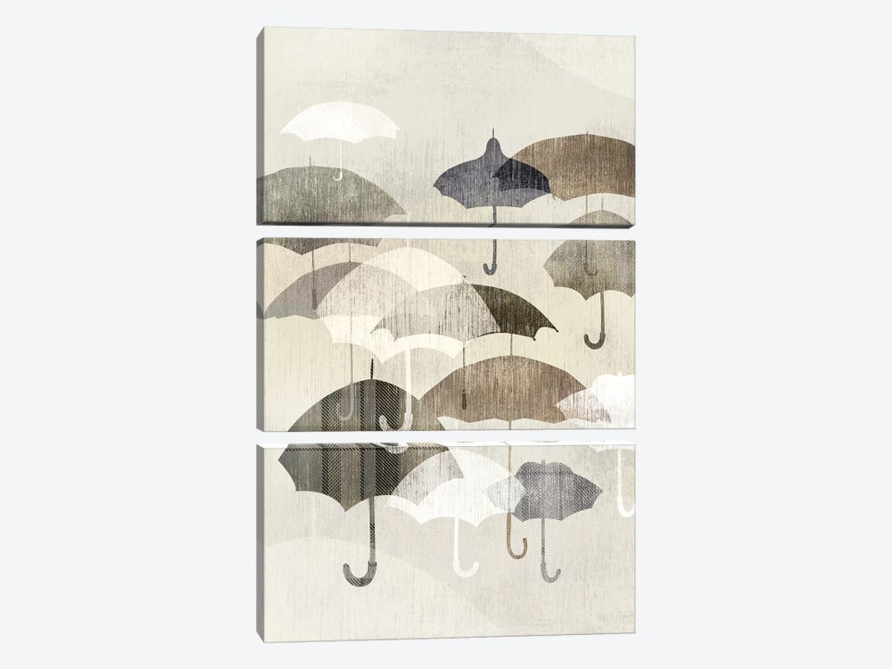 Umbrella Rain I 3-piece Canvas Wall Art