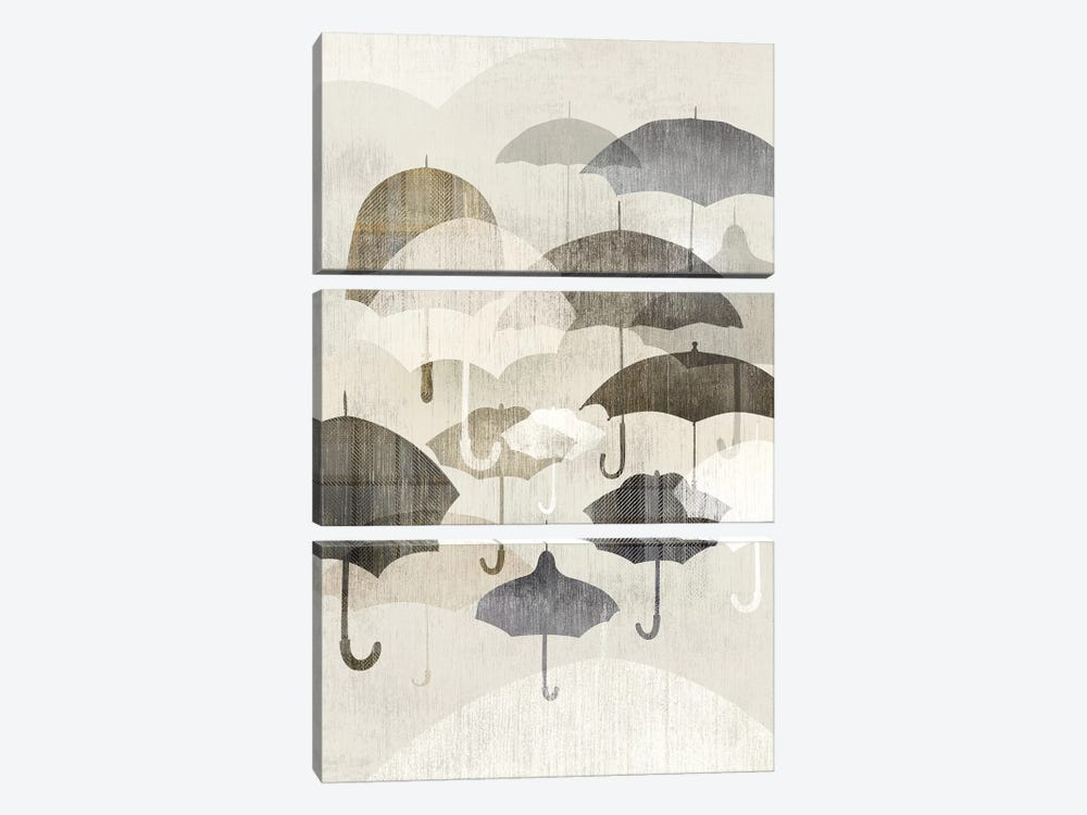 Umbrella Rain II by Edward Selkirk 3-piece Canvas Art Print