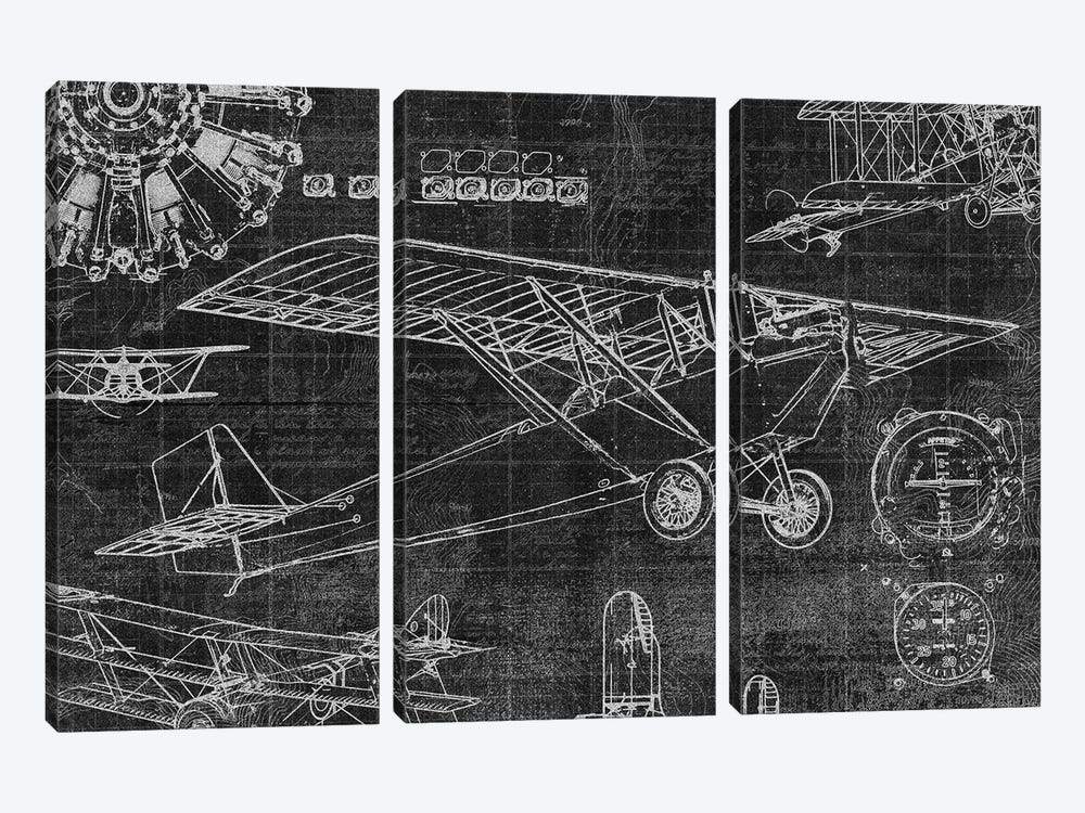 Vintage Aviation I by Edward Selkirk 3-piece Canvas Print