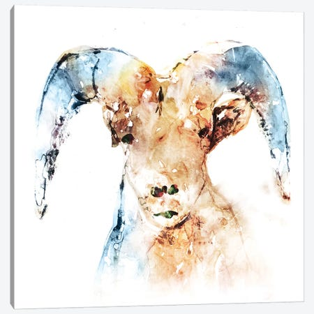 Watercolour Ram Canvas Print #ESK293} by Edward Selkirk Canvas Art