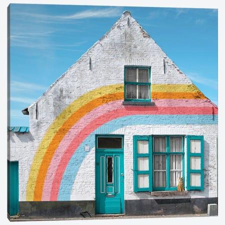 Rainbow House Canvas Print #ESM42} by Erin Summer Canvas Art Print