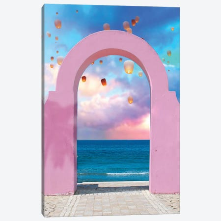 Arch And Lanterns Canvas Print #ESM7} by Erin Summer Canvas Artwork