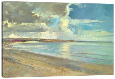 Reflected Clouds, Oxwich Beach  Canvas Art Print