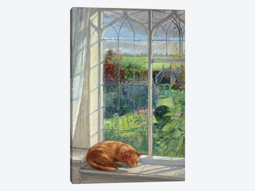Sleeping Cat And Chinese Bridge by Timothy Easton 1-piece Canvas Art