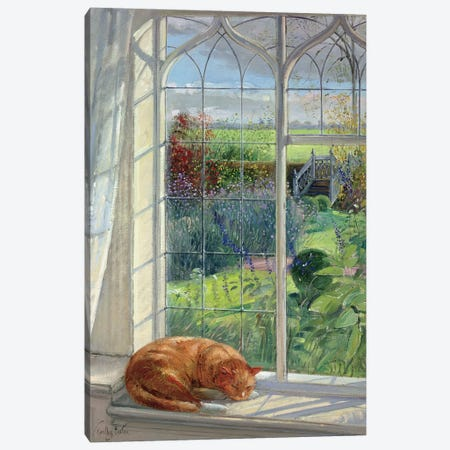 Sleeping Cat And Chinese Bridge 3-Piece Canvas #EST19} by Timothy Easton Canvas Print