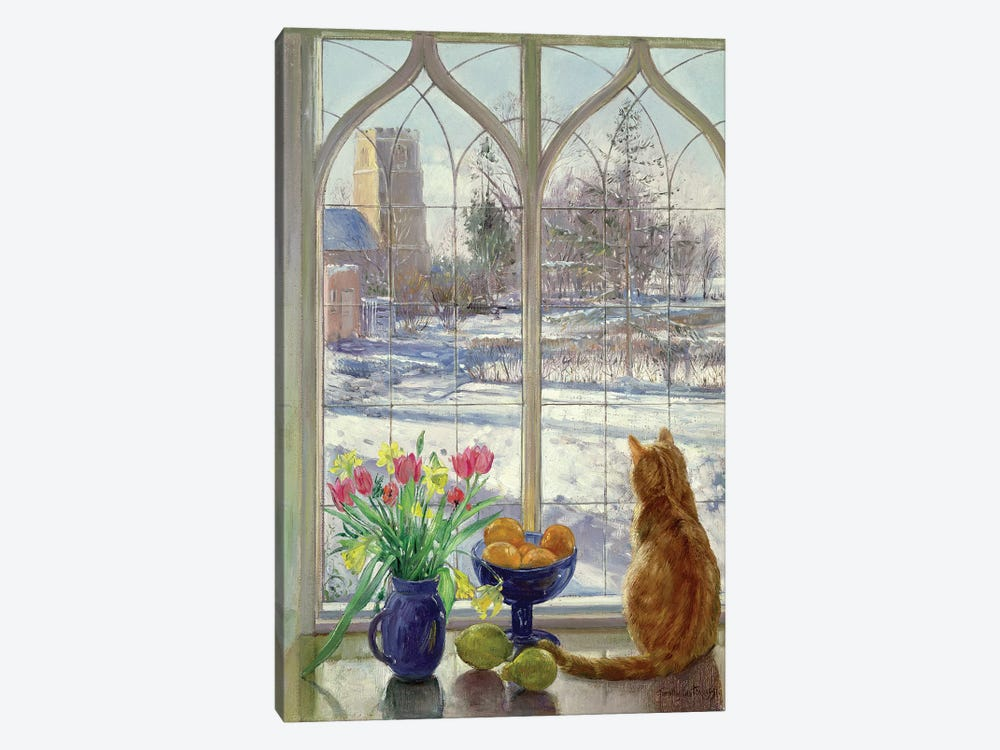Snow Shadows And Cat by Timothy Easton 1-piece Canvas Art