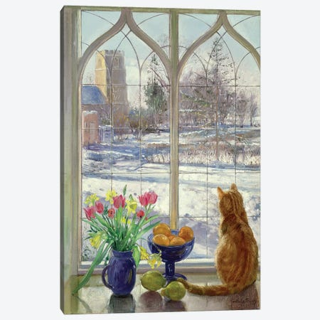 Snow Shadows And Cat Canvas Print #EST20} by Timothy Easton Canvas Artwork