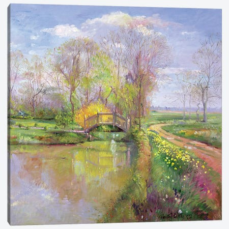 Spring Bridge Canvas Print #EST21} by Timothy Easton Canvas Art