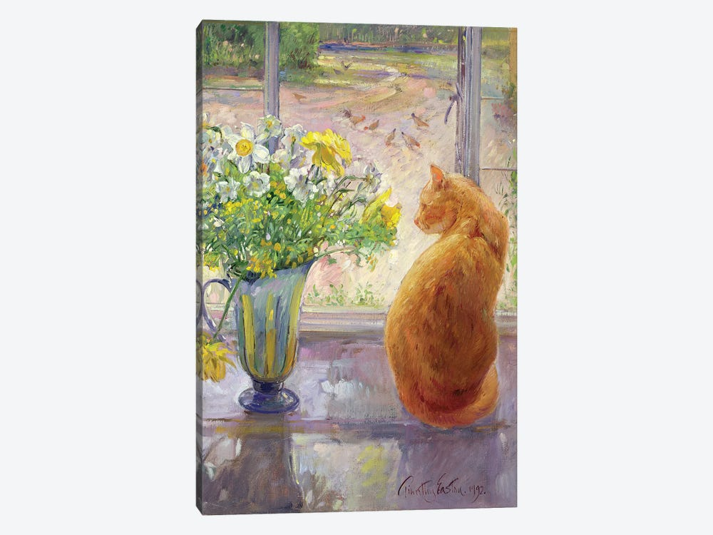 Striped Jug With Spring Flowers by Timothy Easton 1-piece Canvas Print