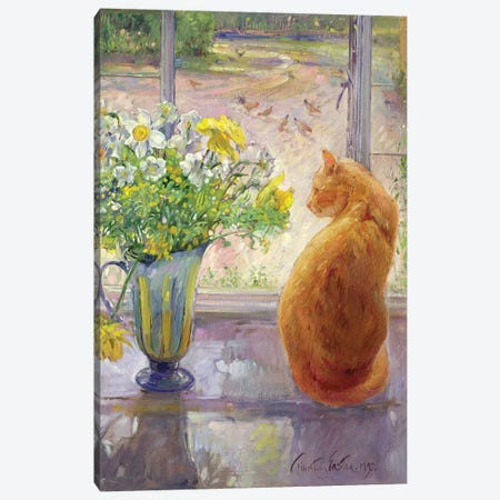 Striped Jug With Spring Flowers, 1992 Canvas Print #EST23} by Timothy Easton Canvas Art