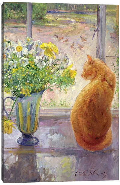 Striped Jug With Spring Flowers, 1992 Canvas Art Print