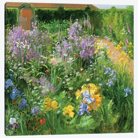Sweet Rocket, Foxgloves And Irises Canvas Print #EST24} by Timothy Easton Art Print