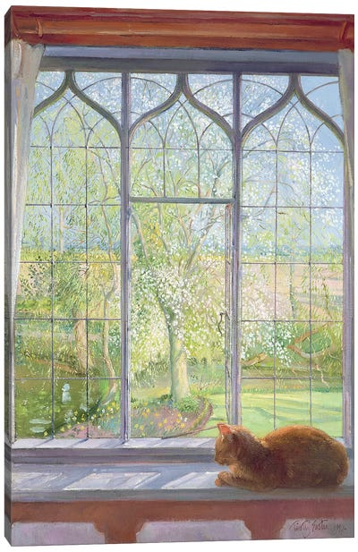 Window In Spring Canvas Art Print