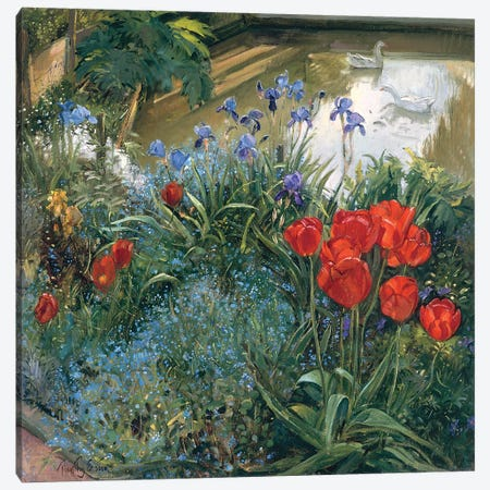 Red Tulips And Geese Canvas Print #EST43} by Timothy Easton Canvas Artwork