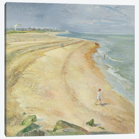 The Curving Beach, Southwold, 1997 Canvas Print #EST48} by Timothy Easton Canvas Artwork
