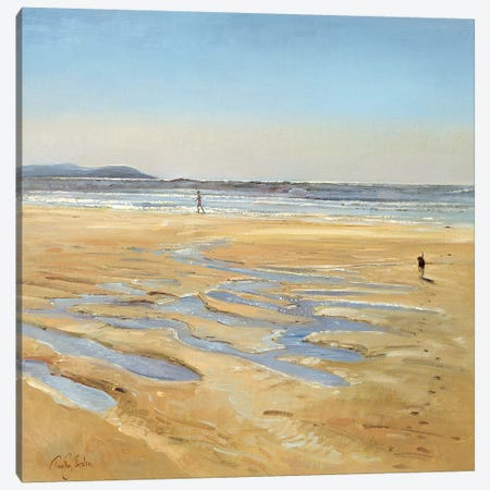 Beach Strollers Canvas Print #EST4} by Timothy Easton Canvas Art