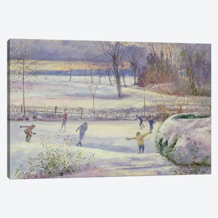 The Skating Day Canvas Print #EST52} by Timothy Easton Art Print