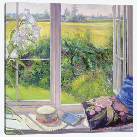 Window Seat And Lily, 1991 Canvas Print #EST58} by Timothy Easton Canvas Art Print