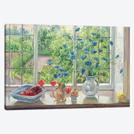 Cornflowers And Kitchen Garden Canvas Print #EST7} by Timothy Easton Canvas Wall Art