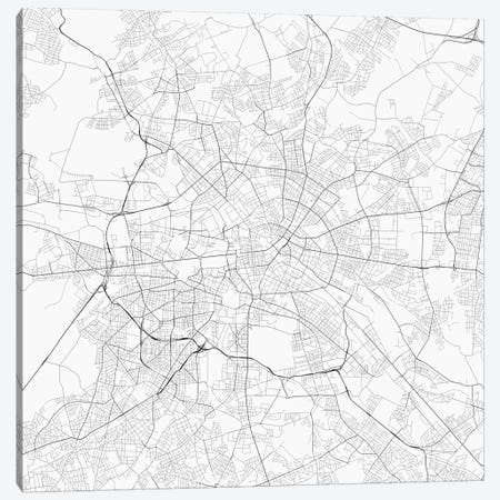 Berlin Urban Roadway Map (White) Canvas Print #ESV107} by Urbanmap Canvas Art Print