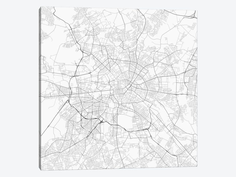 Berlin Urban Roadway Map (White) by Urbanmap 1-piece Canvas Print