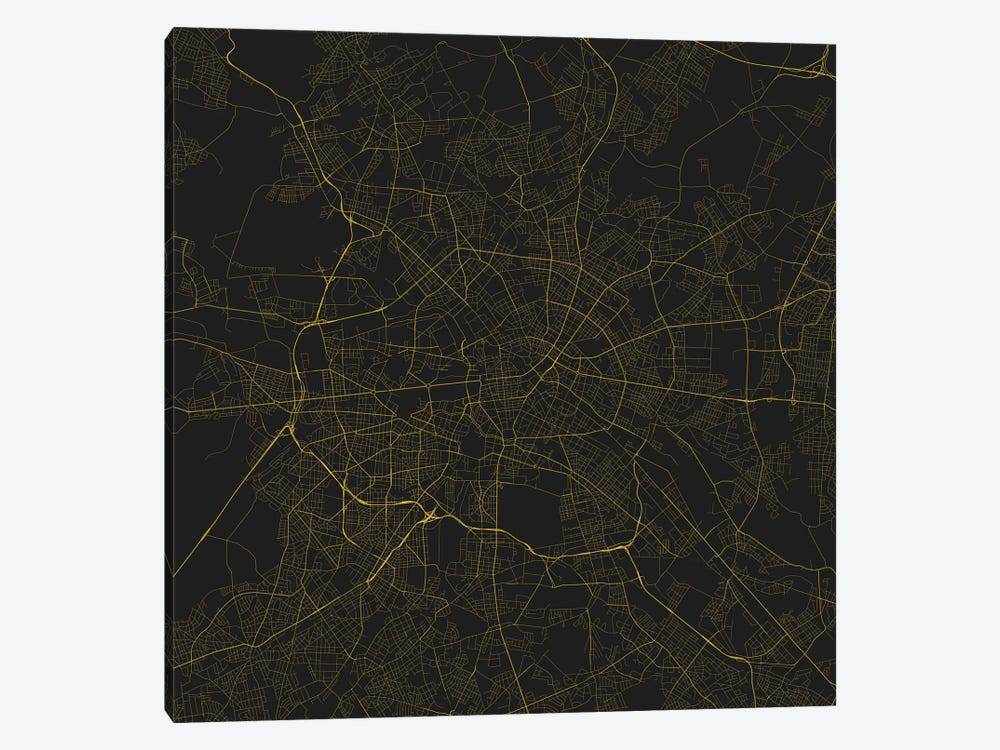 Berlin Urban Roadway Map (Yellow) by Urbanmap 1-piece Canvas Artwork