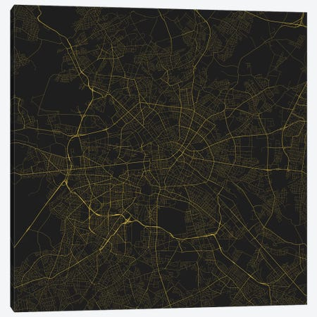 Berlin Urban Roadway Map (Yellow) Canvas Print #ESV108} by Urbanmap Canvas Wall Art