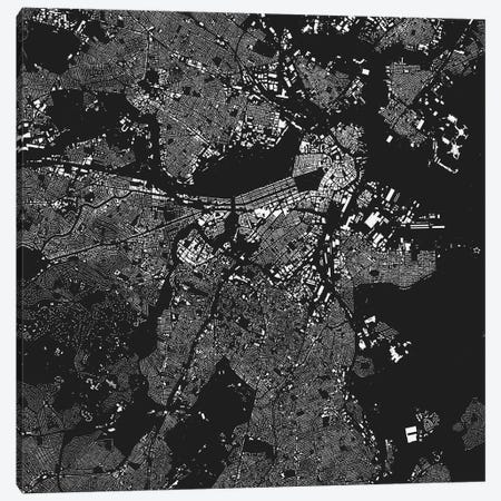 Boston Urban Map (Black) 3-Piece Canvas #ESV109} by Urbanmap Canvas Art