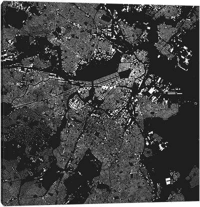 Boston Urban Map (Black) Canvas Art Print
