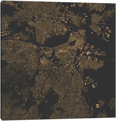 Boston Urban Map (Gold) Canvas Art Print