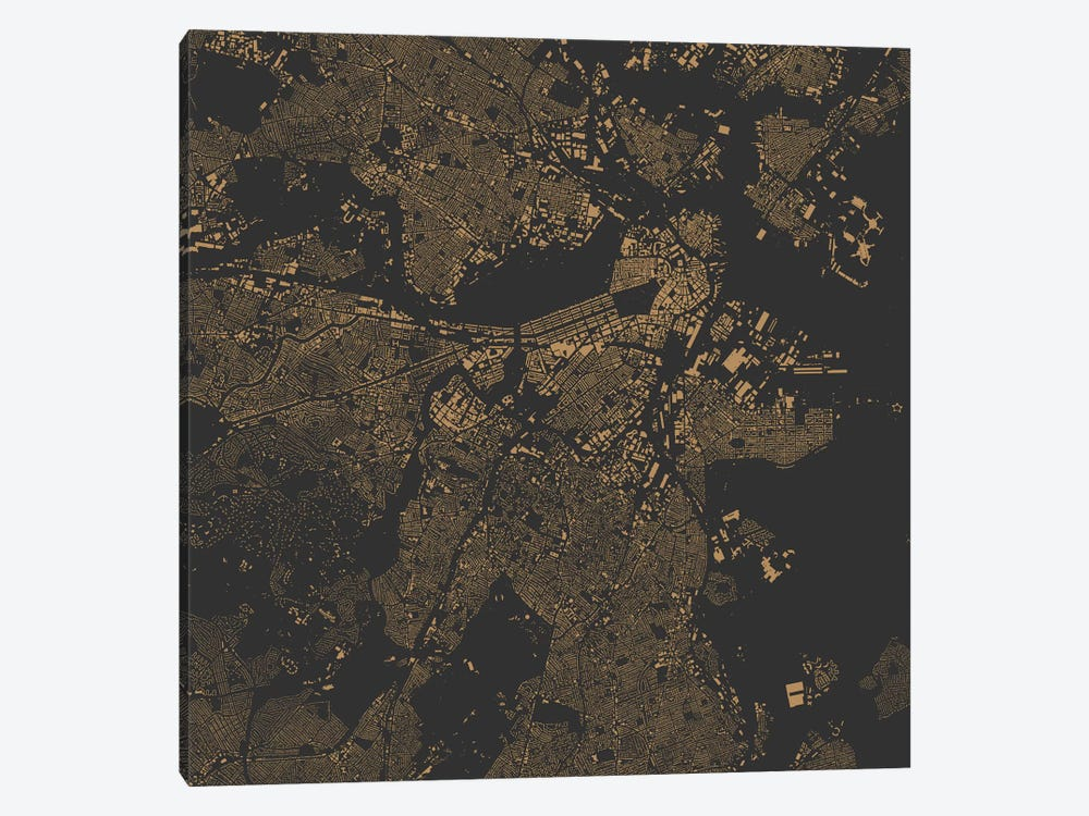 Boston Urban Map (Gold) by Urbanmap 1-piece Canvas Art