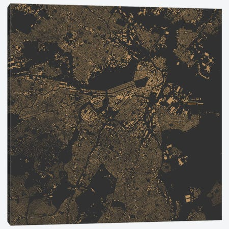 Boston Urban Map (Gold) 3-Piece Canvas #ESV111} by Urbanmap Art Print