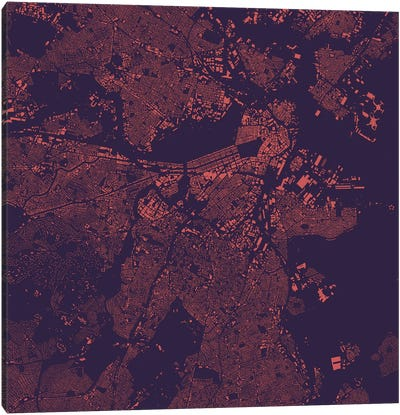 Boston Urban Map (Purple Night) Canvas Art Print