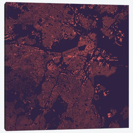 Boston Urban Map (Purple Night) Canvas Print #ESV114} by Urbanmap Canvas Art