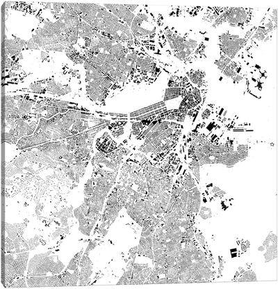 Boston Urban Map (White) Canvas Art Print