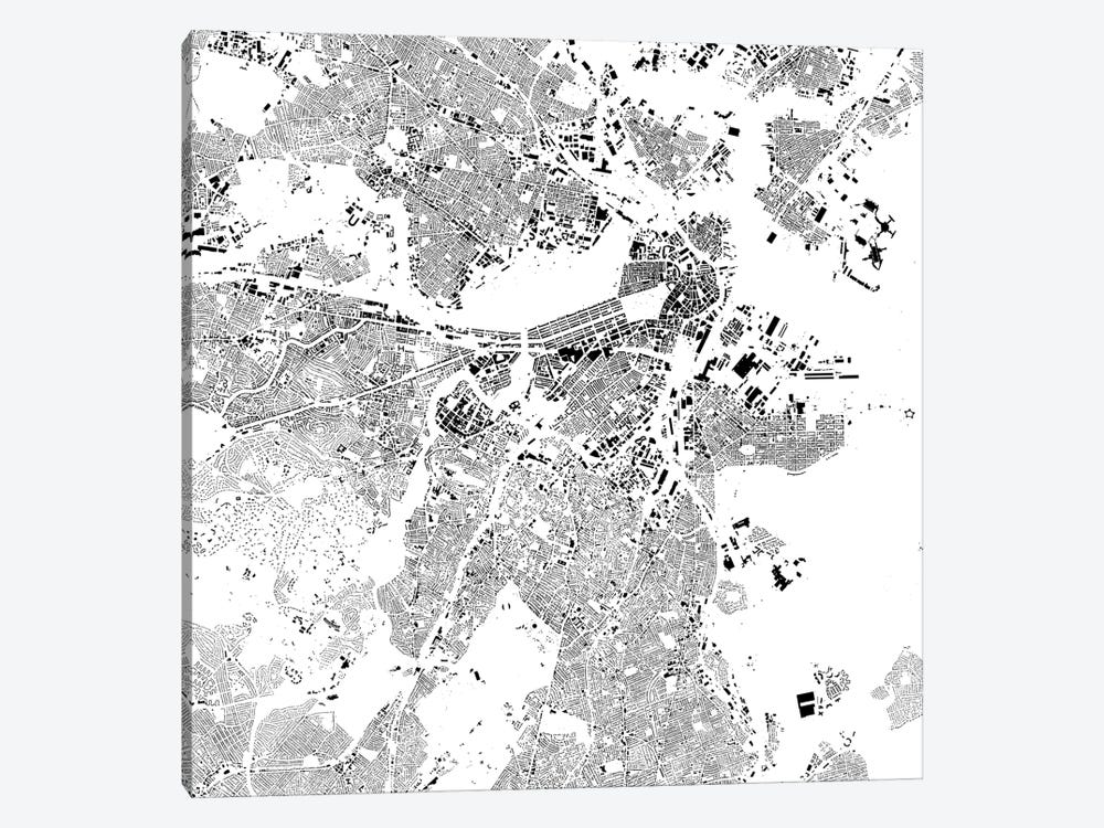 Boston Urban Map (White) by Urbanmap 1-piece Canvas Print