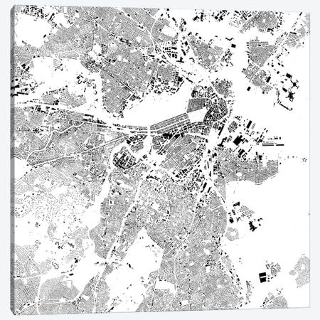 Boston Urban Map (White) 3-Piece Canvas #ESV116} by Urbanmap Canvas Wall Art