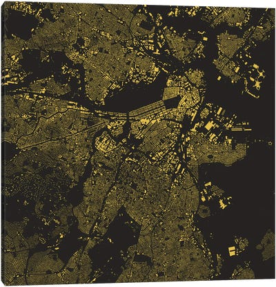 Boston Urban Map (Yellow) Canvas Art Print