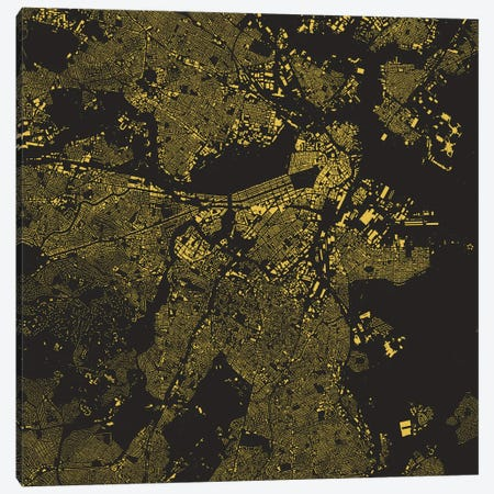 Boston Urban Map (Yellow) 3-Piece Canvas #ESV117} by Urbanmap Canvas Artwork
