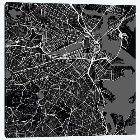 Boston Urban Roadway Map (Black) Canvas Print #ESV118} by Urbanmap Canvas Print